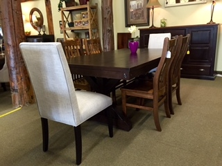 Rafters Trestle Table with Upholstered and Mini Contour Chairs