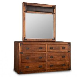 Saratoga 6-Drawer Dresser & Leather Panel Mirror