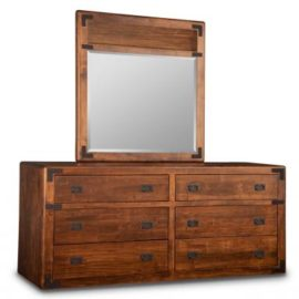 Saratoga 6-Drawer Long Dresser & Wood Panel Mirror