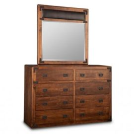 Saratoga 8-Drawer High Dresser & Leather Panel Mirror