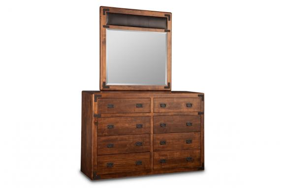 Saratoga 8-Drawer High Dresser & Leather Panel Mirror