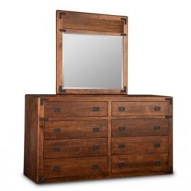Saratoga 8-Drawer Long High Dresser & Wood Panel Mirror