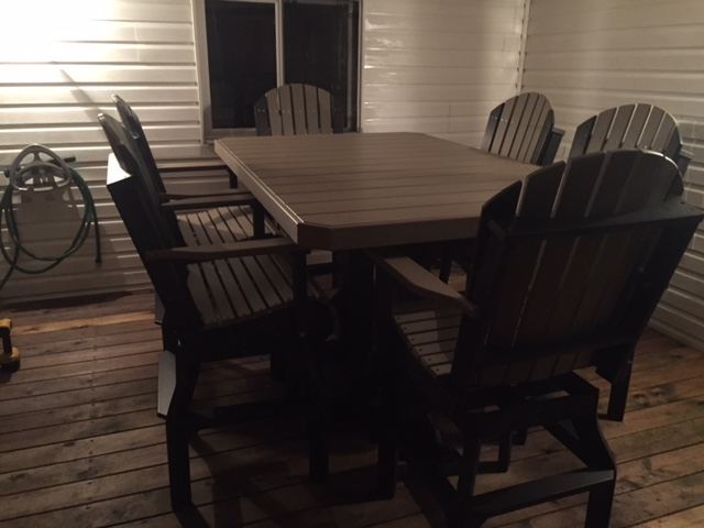 Rectangular Dining Table & Adirondack Swivel Chairs