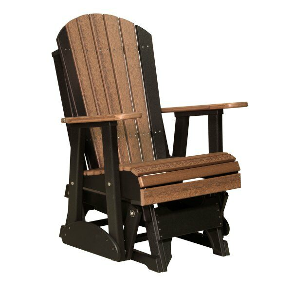 Single Adirondack Glider - Antique Mahogany & Black