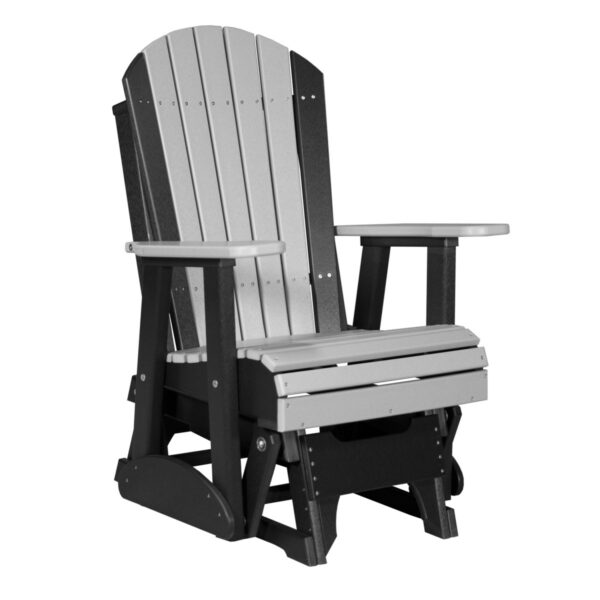 Single Adirondack Glider - Dove Gray & Black