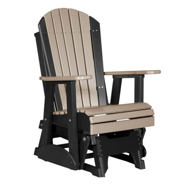 Single Adirondack Glider - Weatherwood & Black