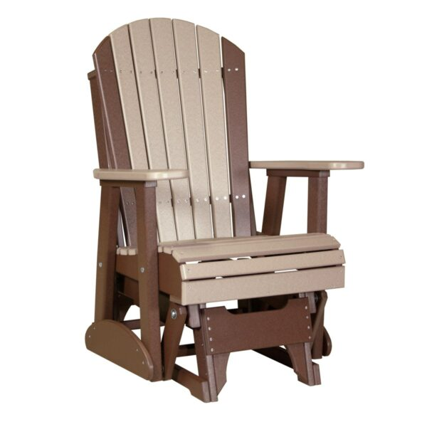 Single Adirondack Glider - Weatherwood & Brown