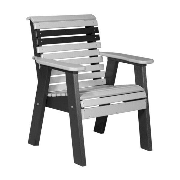 Single Plain Bench - Dove Gray & Black