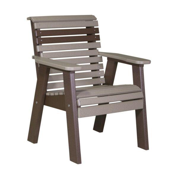 Single Plain Bench - Weatherwood & Brown