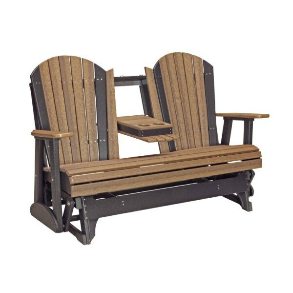 Triple Adirondack Glider - Antique Mahogany & Black