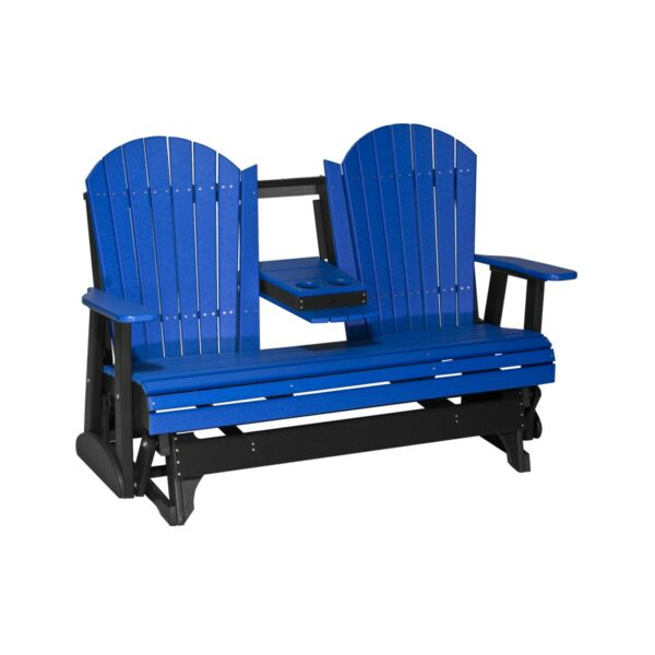 Triple Adirondack Glider - Blue & Black