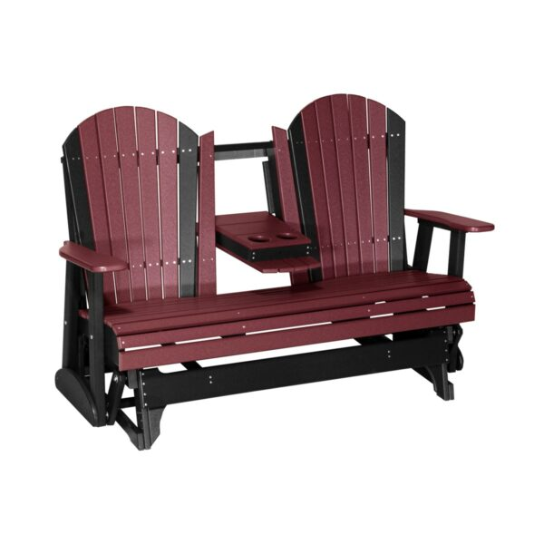 Triple Adirondack Glider - Cherry & Black