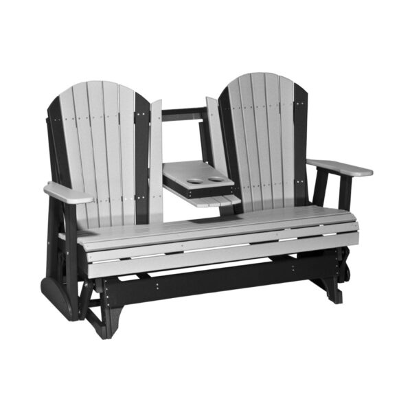 Triple Adirondack Glider - Dove Gray & Black
