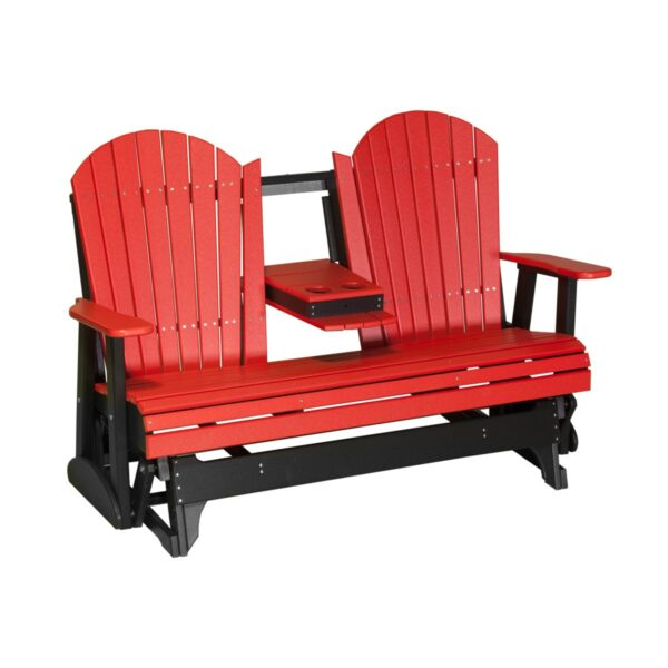 Triple Adirondack Glider - Red & Black