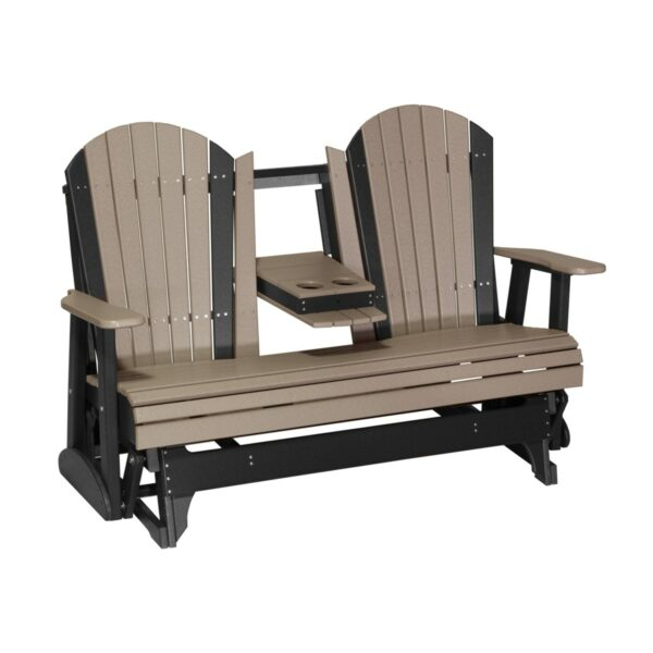 Triple Adirondack Glider - Weatherwood & Black