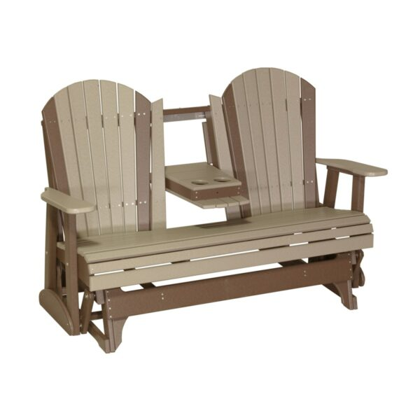 Triple Adirondack Glider - Weatherwood & Brown