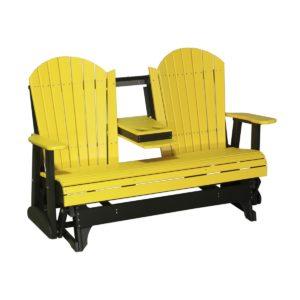 Triple Adirondack Glider - Yellow & Black