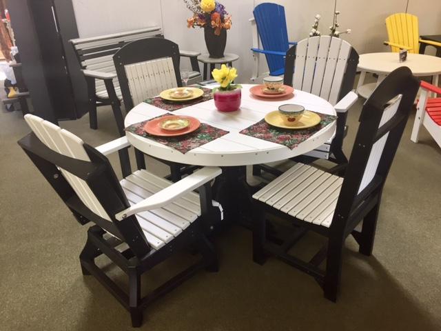 White + Black Round Table Set