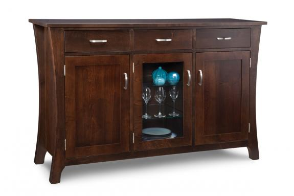 Yorkshire 3-Drawer 3-Door Sideboard with Centre Glass Door