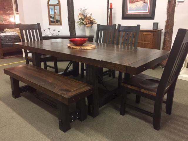 Floor Model Yukon Turnbuckle Dining Set in Royal Dark/Charcoal on Wormy Maple