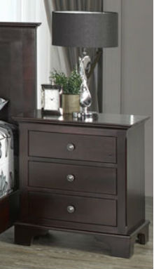 Grey Roots 3-Drawer Nightstand