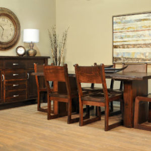Live Edge Pillar Dining Set