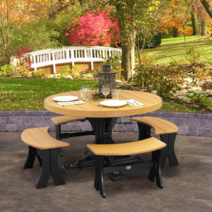 Round Table 5-Piece Bench Dining Set
