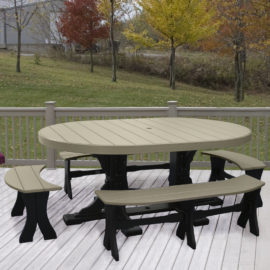 Oval Table 5-Piece Bench Dining Set