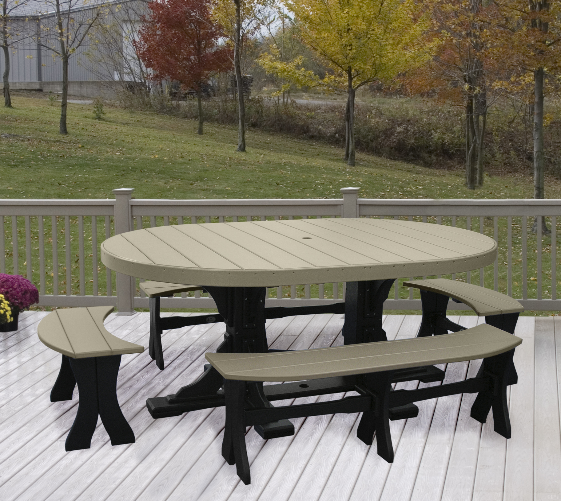 Dining Benches And Tables: Oval Table 5-Piece Bench Dining Set