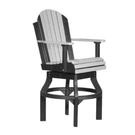 Adirondack Swivel Bar Chair - Dove Gray & Black