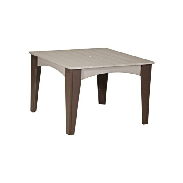 Island Square Table - Weatherwood & Brown