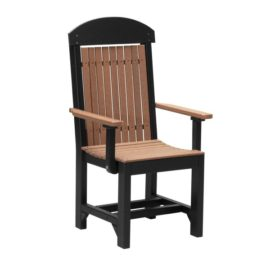 Outdoor Captain Chair (Dining Height Shown) - Antique Mahogany & Black