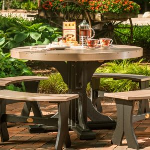 Oval Table 5-Piece Patio Bench Dining Set
