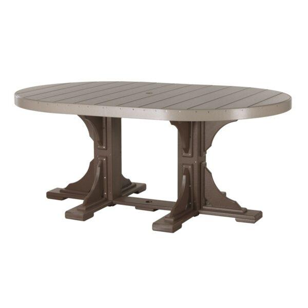 Oval Table - Weatherwood & Brown