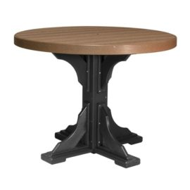 Round Table (Dining Height Shown) - Antique Mahogany & Black