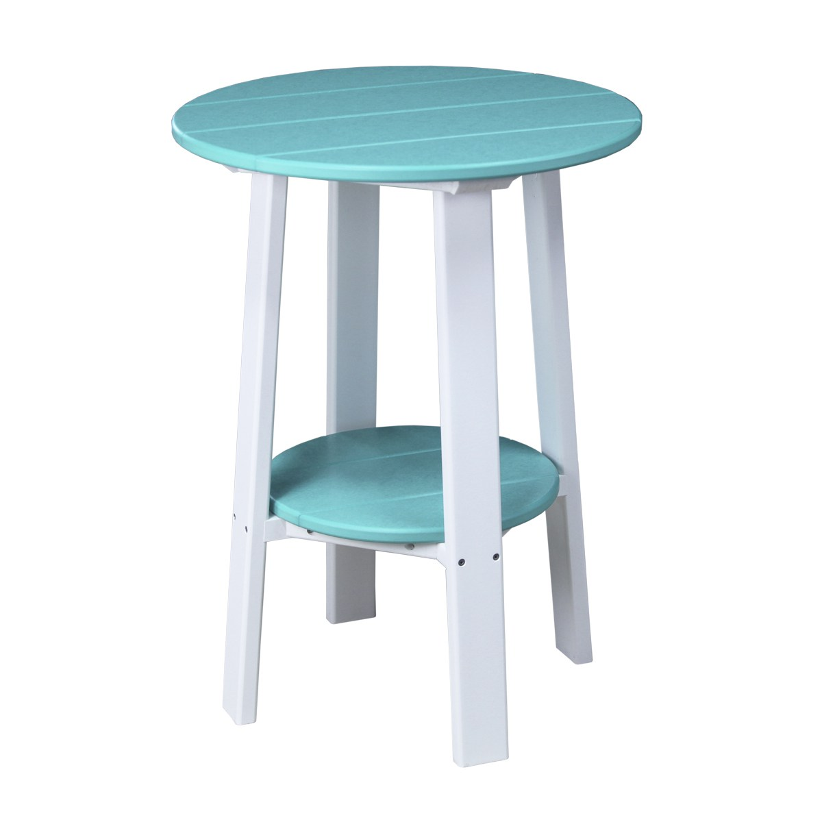 Tall deluxe end table recycled patio fine oak things for Tall white side table