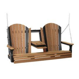 Triple Adirondack Swing - Antique Mahogany & Black