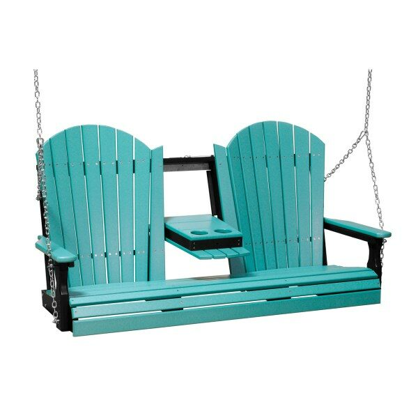 Triple Adirondack Swing - Aruba Blue & Black