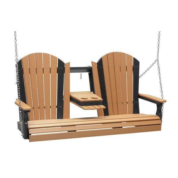Triple Adirondack Swing - Cedar & Black