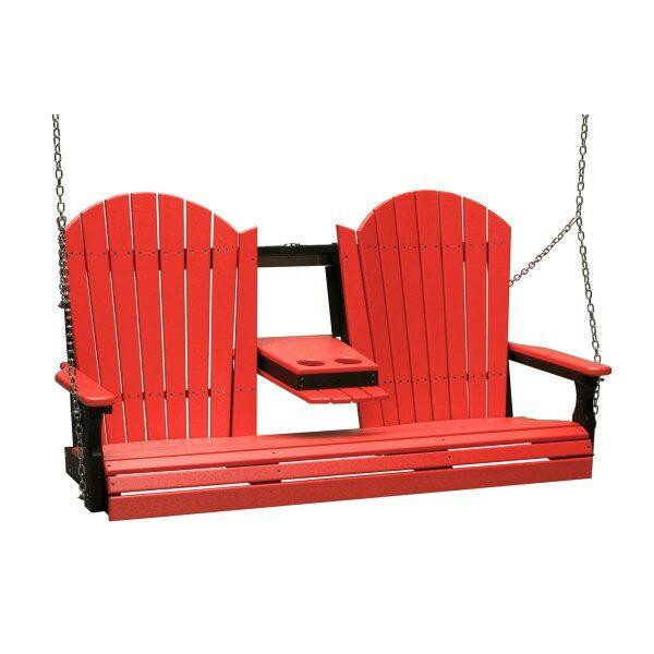 Triple Adirondack Swing - Red & Black