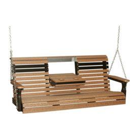 Triple Plain Swing - Antique Mahogany & Black