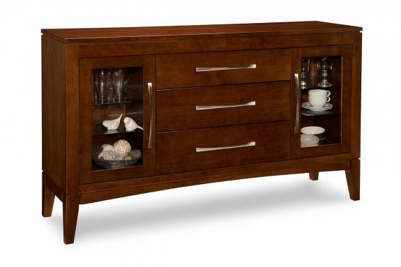 Catalina 3-Drawer 2-Exterior Glass Door Sideboard