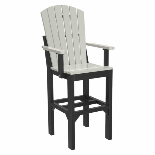 Adirondack Captain Bar Chair - Dove Gray & Black
