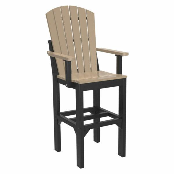 Adirondack Captain Bar Chair - Weatherwood & Black