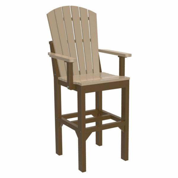 Adirondack Captain Bar Chair - Weatherwood & Chestnut Brown