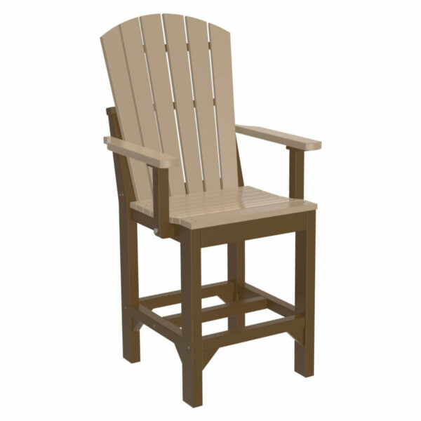 Adirondack Captain Counter Chair - Weatherwood & Chestnut Brown