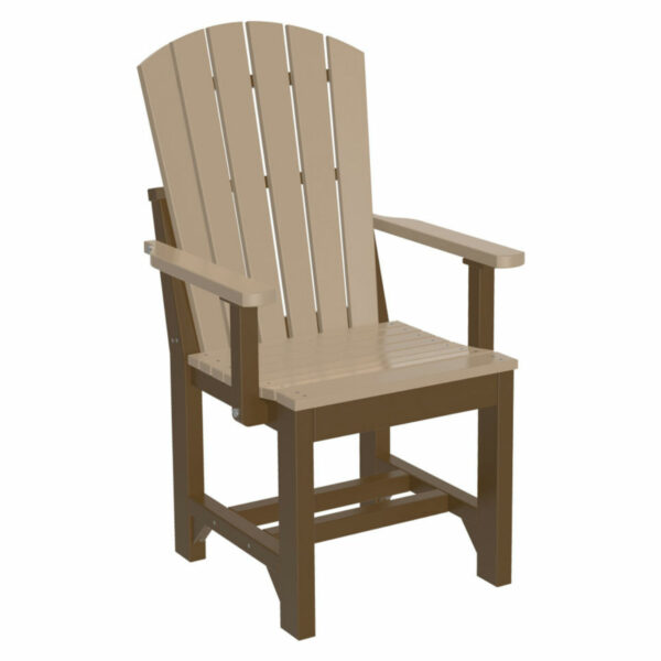Adirondack Captain Dining Chair - Weatherwood & Chestnut Brown