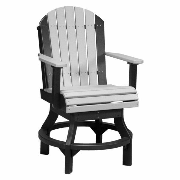Adirondack Swivel Counter Chair - Dove Grey & Black