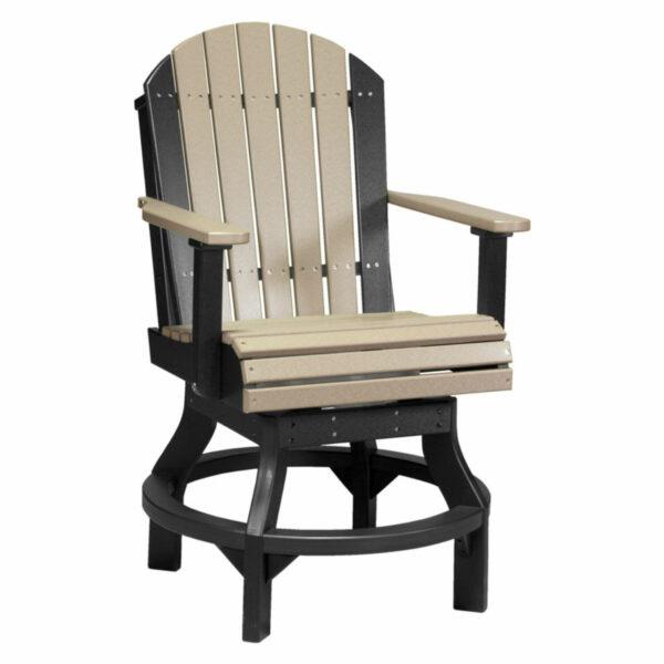 Adirondack Swivel Counter Chair - Weatherwood & Black