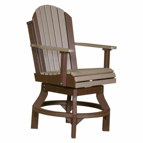 Adirondack Swivel Counter Chair - Weatherwood & Chestnut Brown